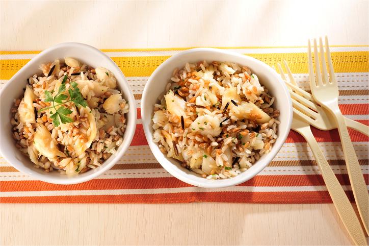 Arroz 7 cereais com bacalhau
