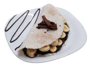 Tapioca com recheio de creme de avelã e banana (Zero Açúcar)