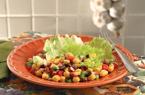 Salada de grão de bico e pimentão