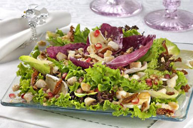Salada de folhas ao vinagrete com romã