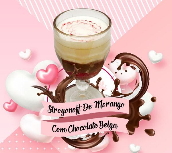 Strogonoff de morango com chocolate belga