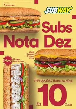 Subway faz promoção com sanduíches de 15cm a R$ 10